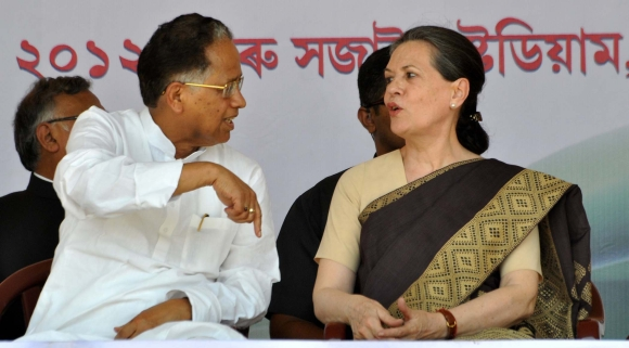 Congress president Sonia Gandhi with Assam CM Tarun Gogoi