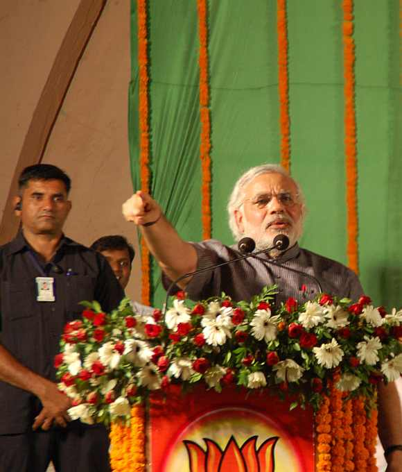 Gujarat Chief Minister Narendra Modi at a BJP rally in Parel, Mumbai, on Friday