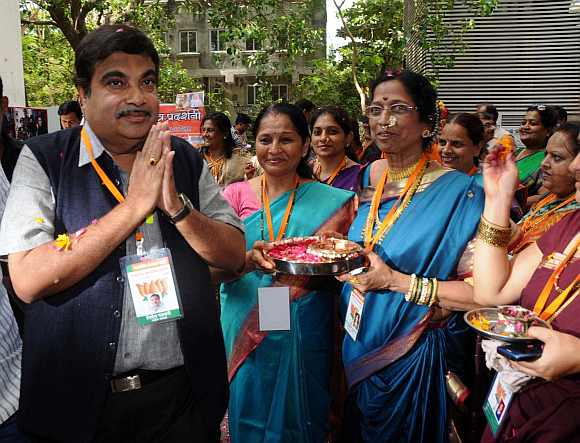 BJP chief Nitin Gadkari at the party national executive in Mumbai