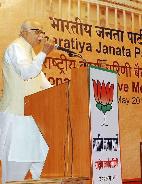 L K Advani at the Yashwant Chavan Auditorium in Mumbai during the BJP national executive meet on Friday
