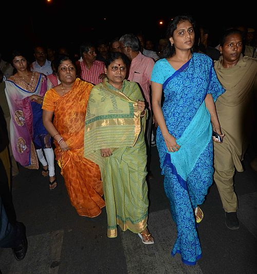 Late YSR's wife Vijayamma with her daughter