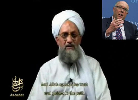 Video grab of Ayman al-Zawahiri, Al Qaeda's new chief. (Inset) Bruce Riedel