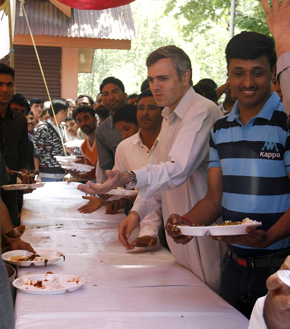 Jammu and Kashmir Chief Minister Omar Abdullah at the Khir Bhawani mela