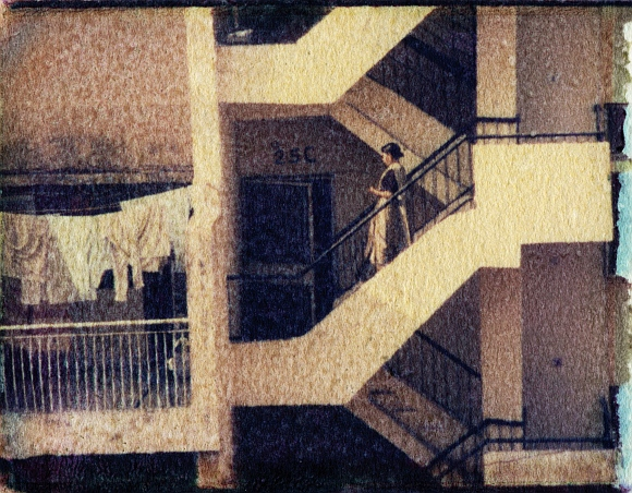 Photograph titled Woman on steps