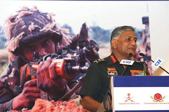 Gen Singh addressing the inaugural session of the two-day International Seminar on 'Battlefield Management System', in New Delhi on September 21, 2010