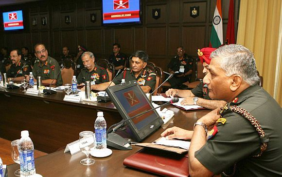 Gen VK Singh, addressing senior army officers, during the Army Commanders Conference, in New Delhi