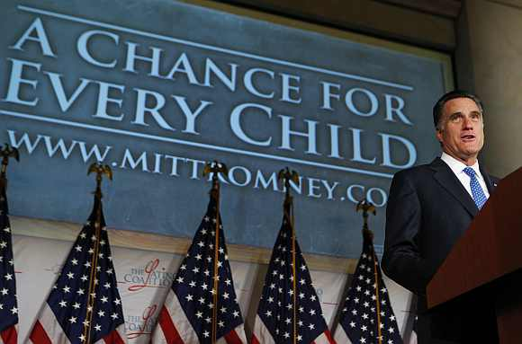 Romney makes a point about children's education at The Latino Coalition during the Annual Economic Summit in Washington