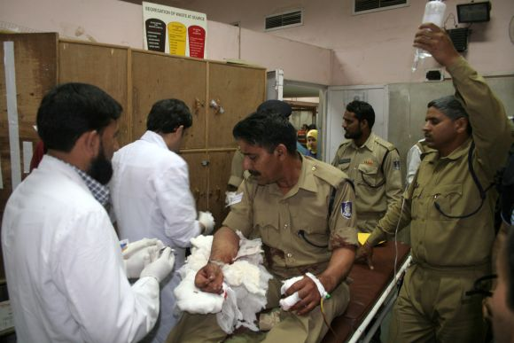 An injured CRPF trooper getting treated at a hospital in Srinagar after a militant attack.