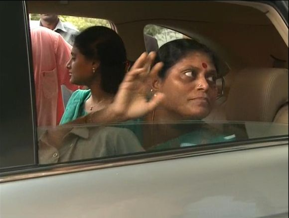 Video grab shows YSR Congress chief Jaganmohan Reddy's mother Vijayamma leaving for her campaign trail on Wednesday