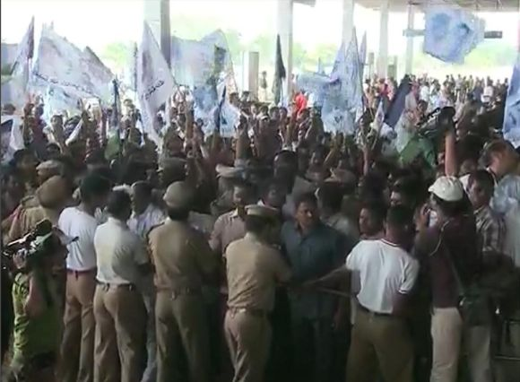 Video grab shows supporters of the YSR Congress party at Vijayamma's road show