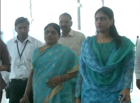 Video grab shows Vijayamma and her daughter Sharmila about to begin the road show