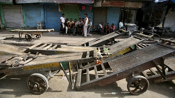 Scene at a railway station in a Mumbai suburb