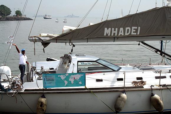 Abhilash Tomy with the 'Mhadei'