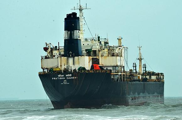 The stranded ship Prathibha Cauvery