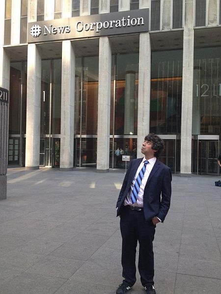 Arun outside the News Corporation office
