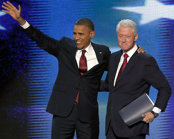 U.S. President Barack Obama with former president Bill Clinton