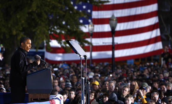 US President Barack Obama speaks during a campaign rally in Dubuque, Iowa, on Saturday