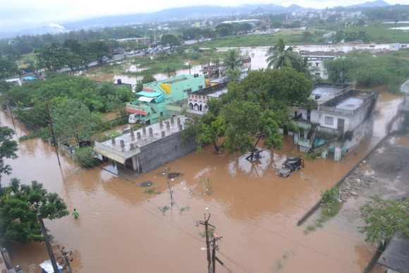 An aerial view of the flooding in Andhra Pradesh