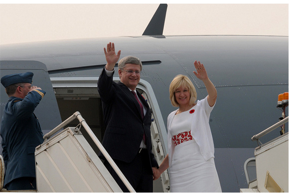 Prime Minister of Canada Stephen Harper and his wife Laureen Harper at Air Force Station, Palam, New Delhi