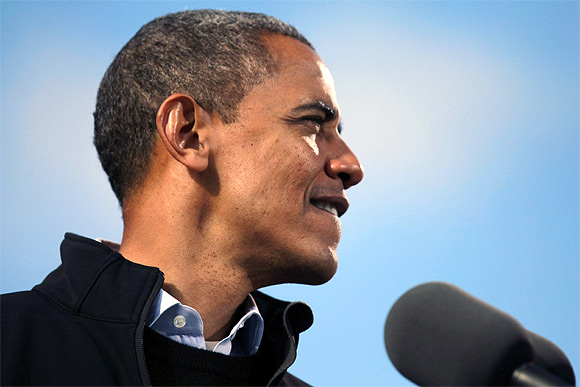 US President Barack Obama is pictured at an election campaign rally in Concord, New Hampshire