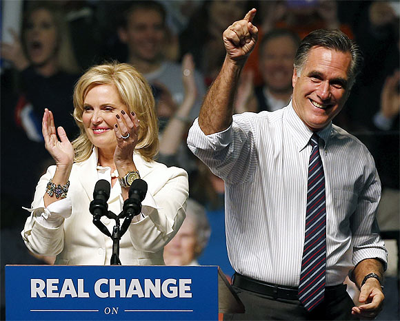 US Republican presidential nominee and former Massachusetts Governor Mitt Romney and his wife Ann at a campaign rally in Manchester, New Hampshire