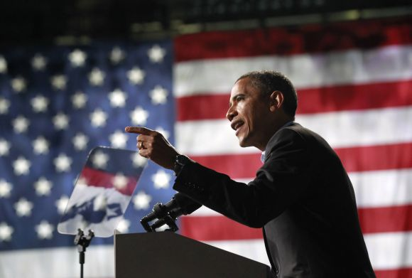 U.S. President Barack Obama speaks at an election campaign rally in Columbus, Ohio, on Monday