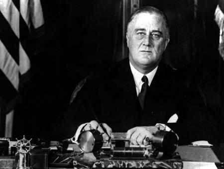 Franklin Delano Roosevelt at his desk