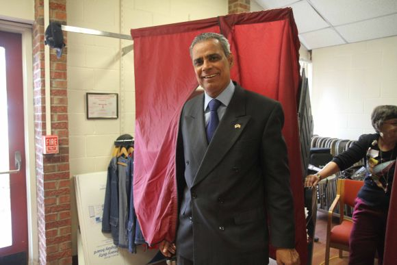New Jersey Democrat Assemblyman Upendra Chivukula cast his vote at a polling booth in New Jersey