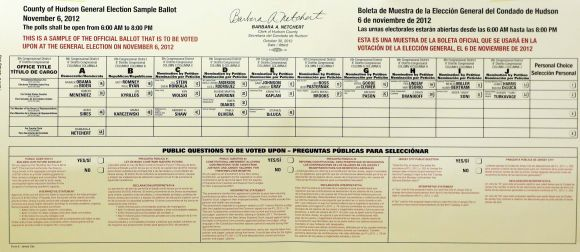 A sample ballot in Hudson County, New Jersey