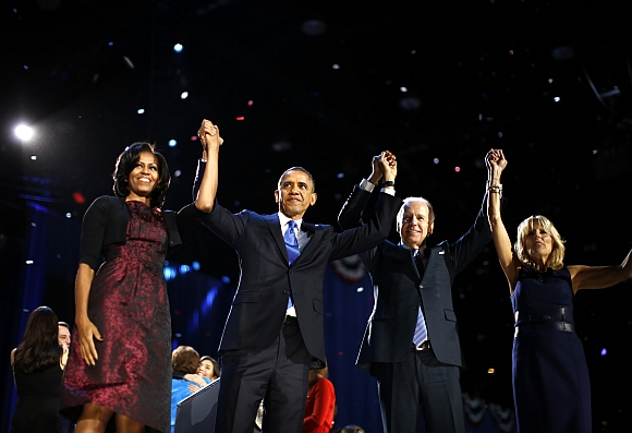 Obama and first lady Michelle Obama celebrate with Vice President Joe Biden and his wife Jill after his victory speech election night in Chicago