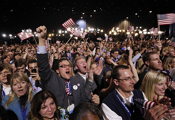 Obama's supporters celebrate after his victory in Chicogo