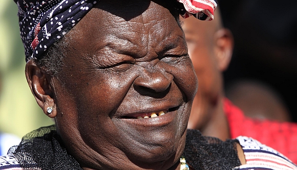 Sarah Hussein Obama, Obama's grandmother, celebrates his win in  in his ancestral home village of Nyangoma Kogelo, Kenya