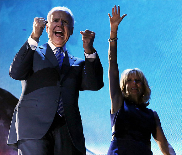Vice President Joe Biden cheers along with his wife Jill at the rally in Chicago