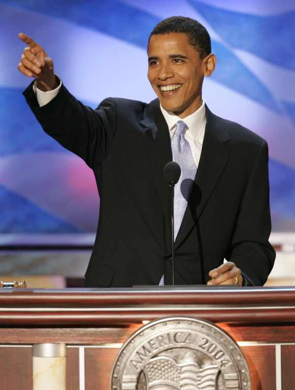 Obama addresses delegates at the 2004 Democratic National Conventio at the FleetCenter in Boston