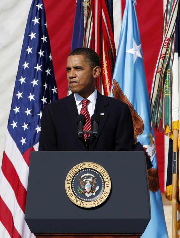 Obama speaks during the III Corps and Fort Hood Memorial Ceremony November 10, 2009 held to honor the victims of the shootings on the Fort Hood Army post in Fort Hood, Texas