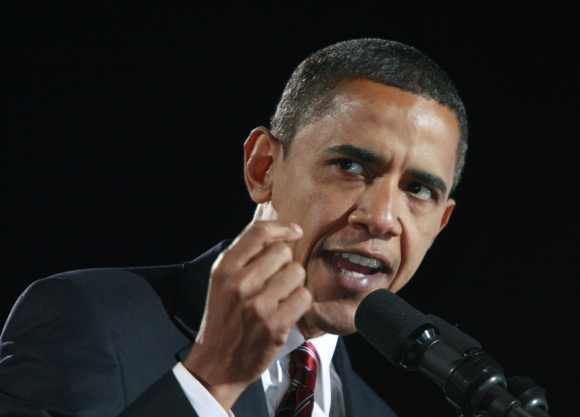 Obama gives his victory speech during his election night rally in Chicago November 4, 2008