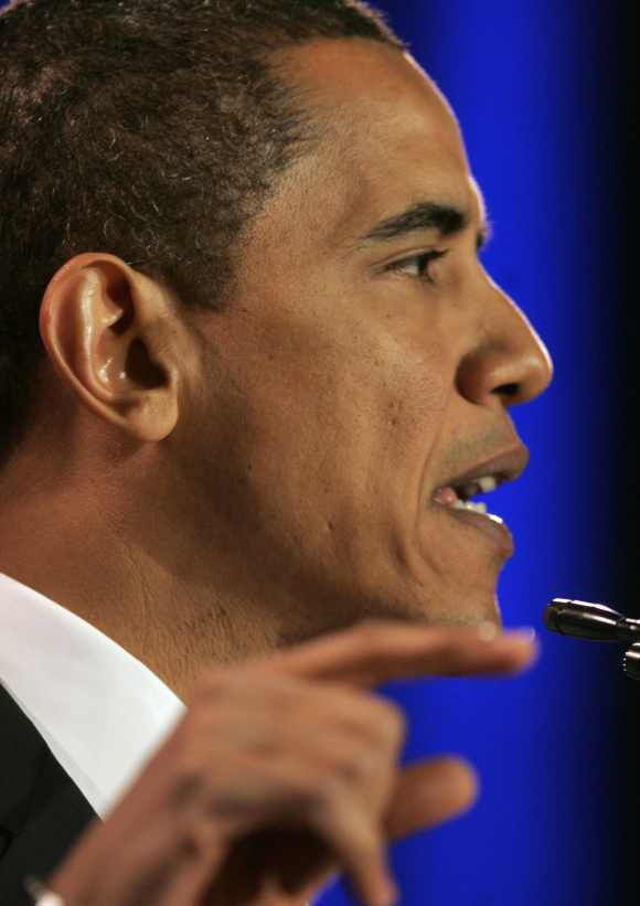 Obama speaks during a campaign event at the National Constitution Center in Philadelphia, Pennsylvania