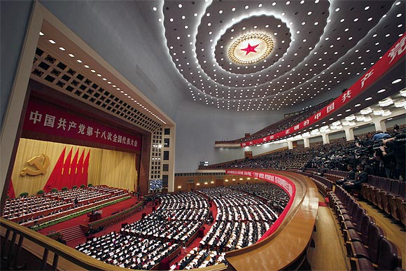 A general view showing delegates attend the opening ceremony of 18th National Congress of the Communist Party of China at the Great Hall of the People in Beijing
