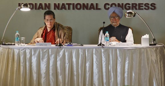 India's Prime Minister Manmohan Singh and Chief of India's ruling Congress party Sonia Gandhi attend the Indian National Congress meeting at Surajkund.