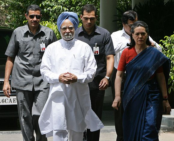 PM Singh with Congress chief Sonia Gandhi in New Delhi