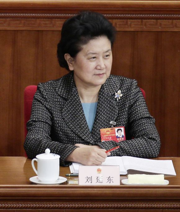 Liu Yandong attends the closing ceremony of the National People's Congress (NPC), China's parliament, at the Great Hall of the People in Beijing