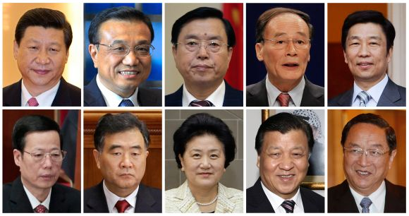 A combination picture shows the 10 main candidates vying for seven seats on China's ruling Communist Party's next Politburo Standing Committee. Top row from left to right: China's Vice President Xi Jinping, Vice Premier Li Keqiang, Vice Premier Zhang Dejiang, Vice Premier Wang Qishan, and Li Yuanchao, head of the Organisation Department of the Communist Party of China. Bottom row from left to right: Zhang Gaoli, Secretary of the Tianjin Municipal Committee, Wang Yang, Party Secretary of the Guangdong Province, Liu Yandong, State Councillor of China, Liu Yunshan, member of China's Communist Party's leading Politburo and Yu Zhengsheng, Shanghai Party Secretary.