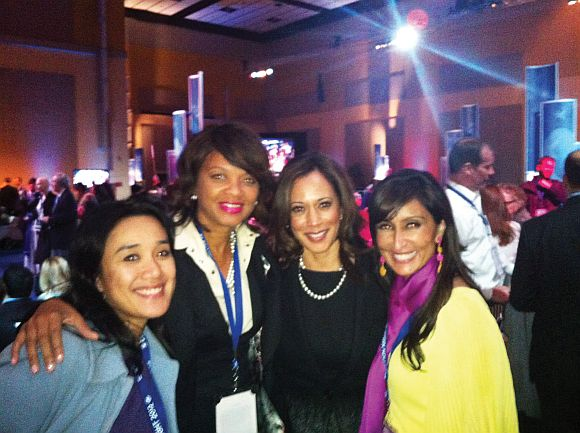 Shefali Razadan Duggal, right, with fellow fundraiser Shonda Scott at the Obama campaign's headquarters in Chicago a few seconds after the news was announced that the President won