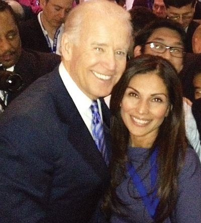 Collins celebrates with Vice President Biden in Chicago