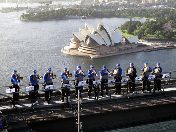 Eleven members of the Sydney Symphony Orchestra perform atop the Sydney Harbour Bridge
