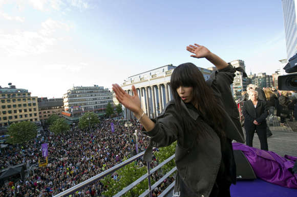 Sweden's Loreen, winner of the 2012 Eurovision Song Contest, performs at Hotorget Square in Stockholm