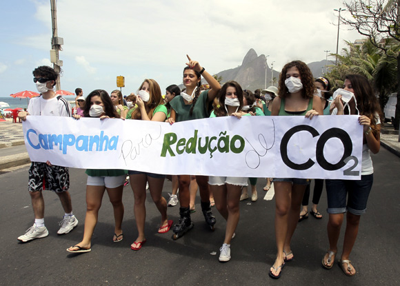 Students march to protest against climate change in Rio de Janeiro