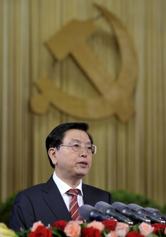 Zhang Dejiang at the Chongqing municipality's Communist Party Congress. Photograph: Reuters