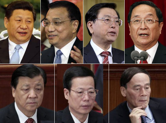 A combination picture shows seven candidates vying for seats on China's ruling Communist Party's next Politburo Standing Committee