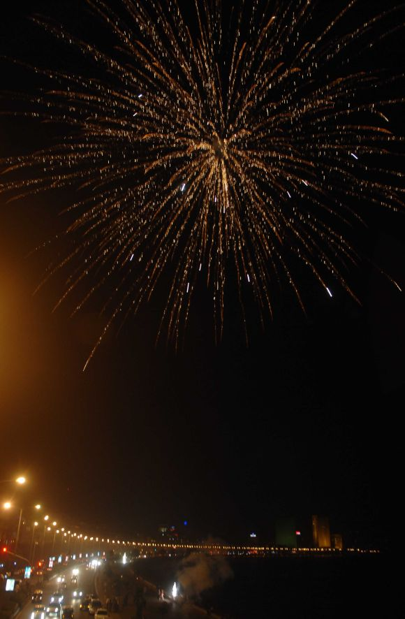 Fireworks light up the night sky at Mumbai's Marine drive